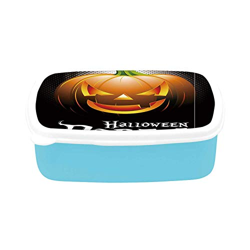 Halloween Simple Plastic Lunch Containers,Halloween Party Theme Scary Pumpkin on Abstract Modern Backdrop Spider Decorative for home,7.09
