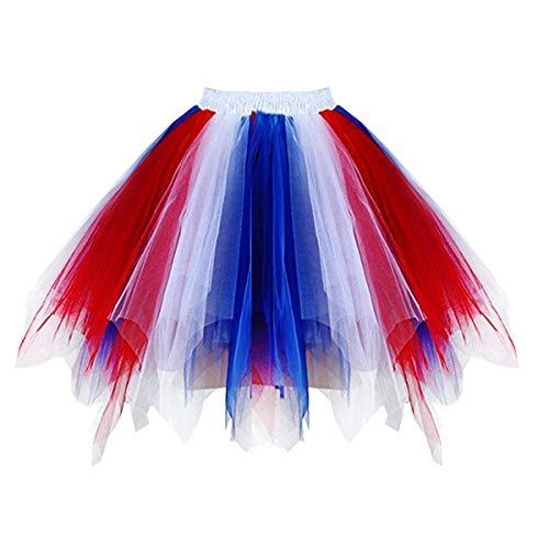 Red White Blue Tutu (Girstunm Women's 1950s Vintage Petticoats Bubble Tutu Dance Half Slip Skirt Flag)