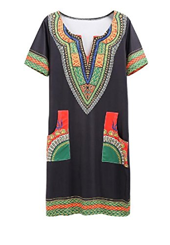 Comfy 3 Folk Casual Womens Business Neck Dress Style Plunge V Tribal Floral RRpqS