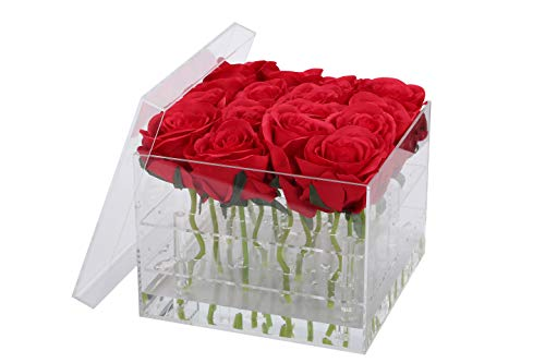 (I-MART Acrylic Flower Box, Flower Pot, Vase with Removable 2 Tiers (16 Holes))