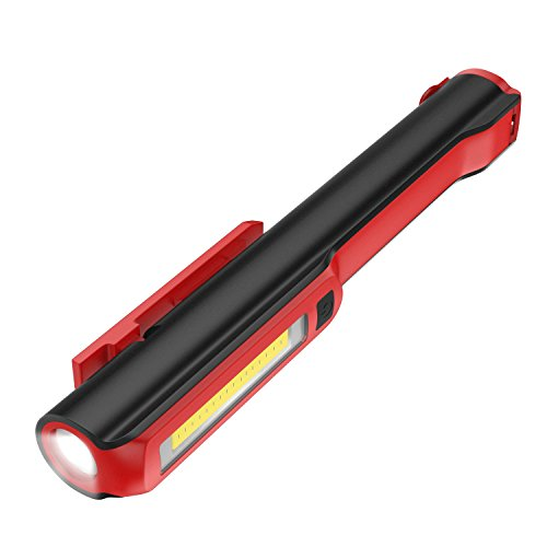 Housolution Pocket Pen Work Light, Ultra Bright Inspection Work Light with Powerful Magnetic Base and Rotating Magentic Clip, 160 Lumen COB Lamp + 130 Lumen Flash, Dual Magnet - Red