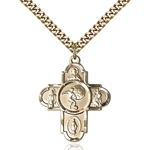 Gold Filled 5-Way / Soccer Pendant 1 1/8 X 1 5/8 inches with Heavy Curb Chain by Bonyak Jewelry Saint Medal Collection