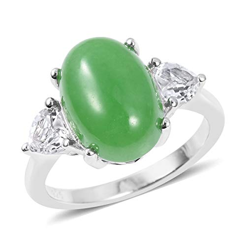 (925 Sterling Silver Statement Ring for Women Green Jade White Topaz Gift Jewelry Size 10)
