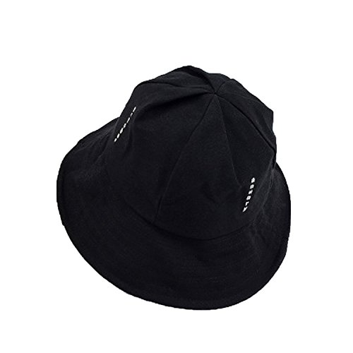 Heart .Attack Letter Ladies Cloth Hat Foldable Retro Cap Outdoor Shade Fisherman Hat,Black,M (56-58cm)