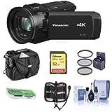 Panasonic HC-VX1K 4K Camcorder, 24x Leica Dicomar Lens, HDR Mode, Wireless Multi-Camera Capture - Bundle 32GB SDHC Card, Video Bag, 62mm Filter Kit, Cleaning Kit, Memory Wallet,