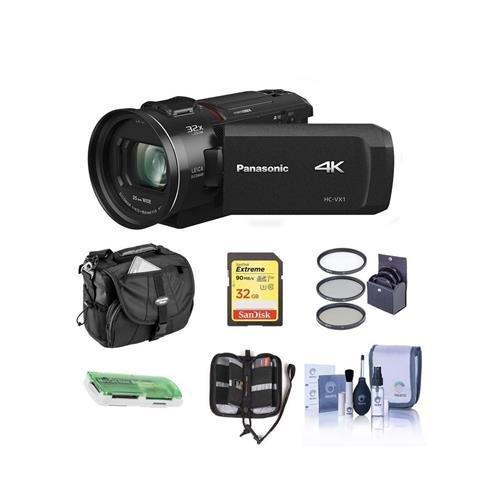 Panasonic HC-VX1K 4K Camcorder, 24x Leica Dicomar Lens, HDR Mode, Wireless Multi-Camera Capture - Bundle With 32GB SDHC Card, Video Bag, 62mm Filter Kit, Cleaning Kit, Memory Wallet, (Panasonic Multiple Adapter)