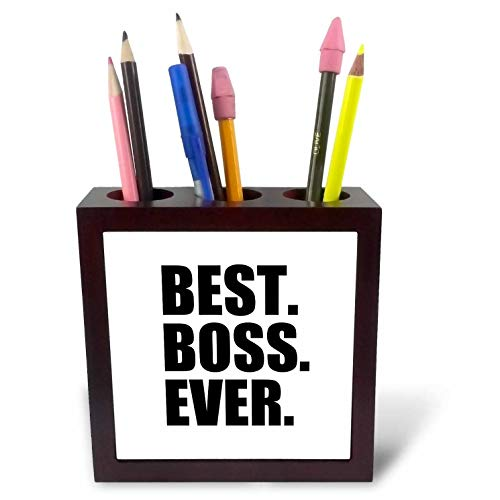 3dRose ph_151477_1 Best Boss Ever-Fun Funny Humorous Gifts for The Boss-Work Office Humor-Black Text-Tile Pen Holder, 5-Inch