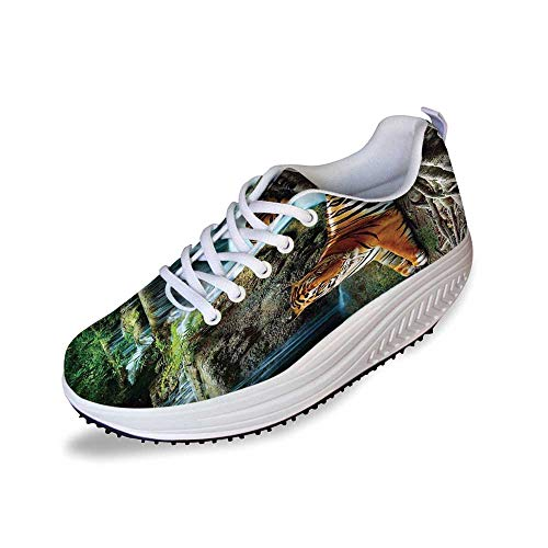 Safari Decor Stylish Shake Shoes,Indochina Tiger Lying with Relaxing Under Banyan Tree Against Limestone Waterfalls Picture for Women,7