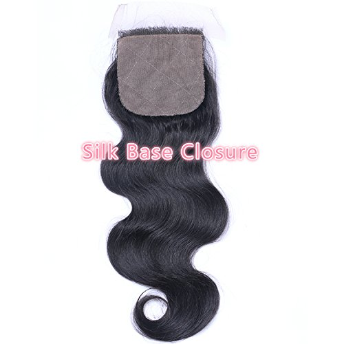 Beata Hair Free Part Silk Closure Body Wave 4x4inch Silk Base Top Closure 130% Density 8A Virgin Brazilian Hair Natural Color (12inch)