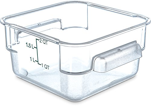 Carlisle 1072007 StorPlus Stackable Square Food Storage Container, 2 Quart Capacity, Clear (Pack of 6)