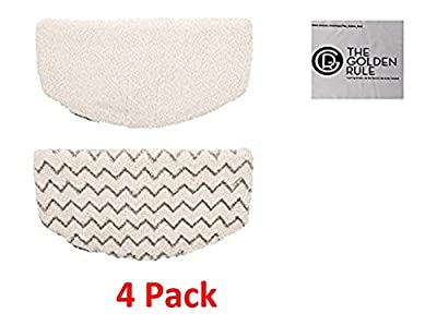 4 Pack Synonymous Replacement Bissell Powerfresh Pads for the Bissell Powerfresh 1940 Series Steam Mop & Golden Rule Microfiber Clean Screen/Glasses Cloth