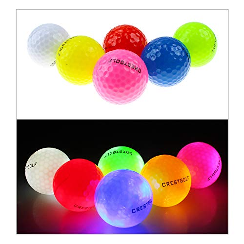Kofull Golf Light Ball, Night Glow Flash Light up LED Golf Ball Flashing Glowing Golf Ball Mixed Color (Pack of 12 pcs) -
