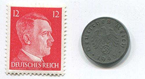 Rare Nazi Swastika 1 Reichspfennig German Coin World War Two Ww2 With Red Hitler Head Stamp Mnh