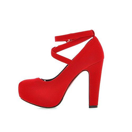 Delle Donne Tacchi Pompe Chiuso Rotondo Punta Solido Rosso Scamosciata Dell'inarcamento shoes Imitati Amoonyfashion SwqBOOTf