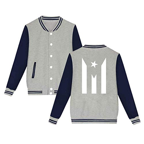 Athletic Classic Uniform - Unisex Womens Mens Classic Puerto Rico Flag Sweatshirt Casual Uniform Baseball Cap Jacket Loose Sport Coat for Girls Boys Gray
