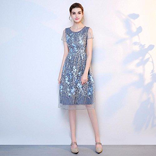 WBXAZL Vestido de Noche, Vestido de Banquete, con dignidad, Autocultivo Anfitrión, Pequeño Vestido, Vestido de la Dama de Honor. Azul