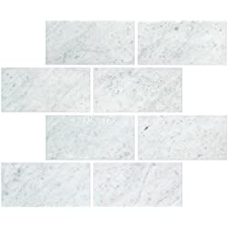 Carrara Marble Italian White Bianco Carrera 3x6 Marble Subway Tile Honed