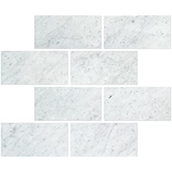 CARRARA MARBLE X SUBWAY TILE HONED VENATO SAMPLE PIECES - Carrara porcelain tile 3x6