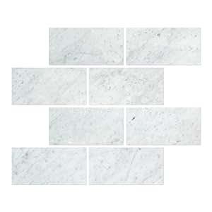Carrara Marble Italian White Bianco Carrera 3x6 Marble Subway Tile