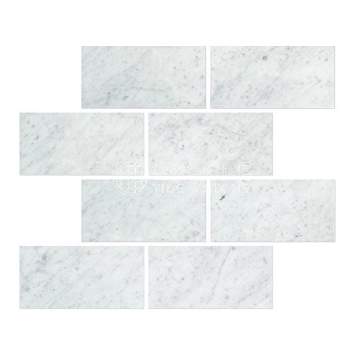 Carrara White Italian (Bianco Carrara) Marble 3 X 6 Subway Brick Field Tile, Polished
