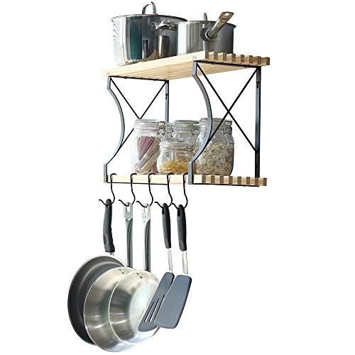 (WELLAND Taylor 2 Tier Pot Rack with 4 Hooks, Kitchen Cookware Organizer, Wall Mounted Pots and Pans Rack, 24 by 8.9-Inch )