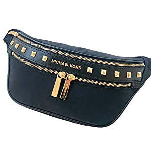 Kenly Medium Waist Pack Belt Bag Crossbody Bumbag Black Golden Studded