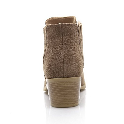 Kitten Blend Rubber Boots Women's with Apricot Materials Heels Allhqfashion Frosted Heels Bottom Chunky and ZIawq
