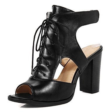 LvYuan Mujer-Tacón Robusto-Talón Descubierto Zapatos del club-Sandalias-Vestido Informal Fiesta y Noche-Semicuero-Negro Beige beige