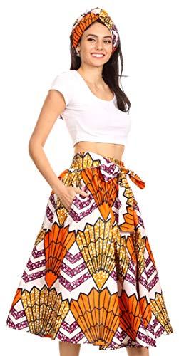 Sakkas 16321 - Celine African Dutch Ankara Wax Print Full Circle Skirt - 18-WhiteMulti - OS