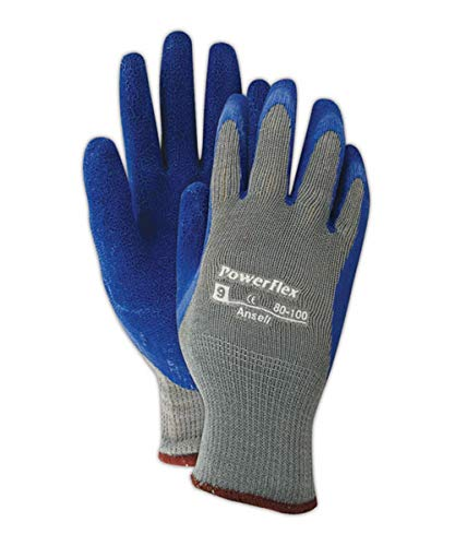 Gloves Cotton Ansell (Ansell 103498 PowerFlex Knit Liner Gloves with Latex Coating, Capacity, Volume, Cotton Poly Blend, 8, Gray (Pack of 12))