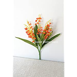 Sweet Home Deco 12'' Silk Lily of the Valley Artificial Flower Bush (5 Stems w/ Flower Heads) 22