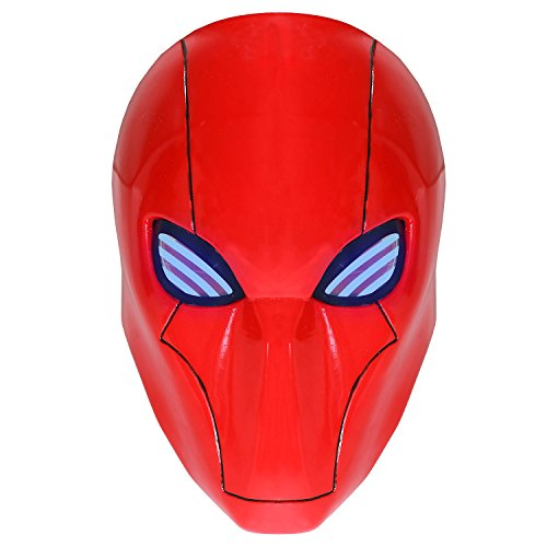 Red Hood Mask PVC Helmet with LED Lights Bat-man Adult Halloween Party Masquerade (Red Halloween Mask)