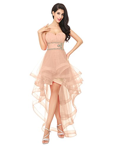 Abendkleid CAJ014 Partykleid Herzausschnitt Blush Damen Ballkleid Asymmetrisch Tüll Clearbridal X4q0w
