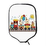 YOLIYANA Kids Decor Durable Racket Cover,Cartoon Animals on a Train Bunny Teddy Bear Gift Boxes Balloons Party Hat Deco Decorative for Sandbeach,One Size
