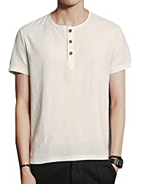 YUNY Mens Casual Vintage Three Buttons Neck Short-Sleeve T-Shirt