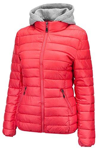 Donne Cappuccio Di Delle Colore Rosa Cappotto Sci Con Da Giacca Breve Invernale IfpOOq4