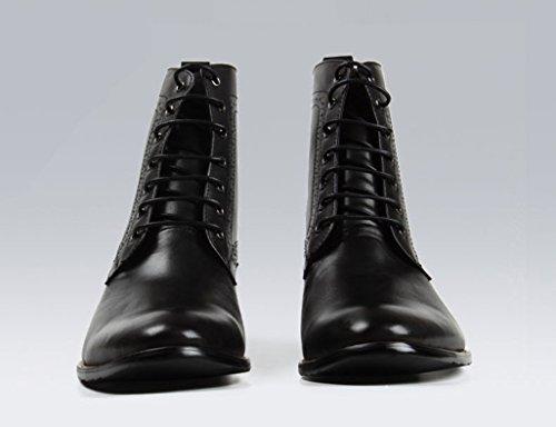 Zapatos Clásicos de Piel para Hombre Zapatos de cuero para hombres Estilo británico Botas Martin de punta corta Botas de utillaje de ejército retro superior ( Color : Negro , Tamaño : EU43/UK8 ) Negro