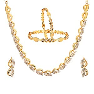 Zeneme Fashion Jewellery American Diamond Designer Gold Plated Necklace Set & Bangles for Women & Girls