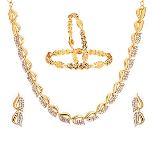 Zeneme Fashion Jewellery American Diamond Designer Gold Plated Necklace Set & Bangles for Women & Girls