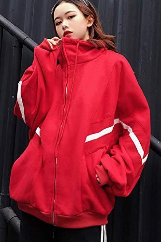 Rouge Medium Noir Printemps À Casual coloré Zippées Automne Taille Oudan Poches Manteaux Pour Femmes qTwqZB4