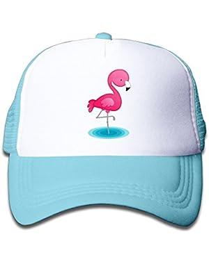Pink Mesh Baseball Cap Adjustable Kids Hats Cartoon Pink Flamingo Unisex
