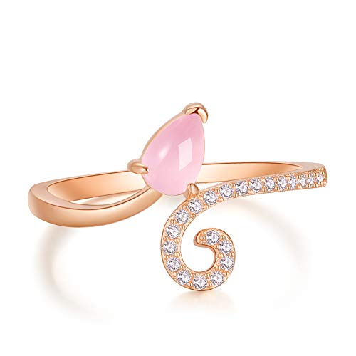 A ANGG 925 Sterling Silver Rose Gold Twisted Pink Quartz Ring For Women