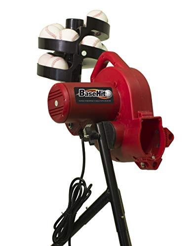 HEATER SPORTS BaseHit Baseball Pitching Machine for Kids, Teens, and Adults, Uses Pitching Machine Baseballs & Real Baseballs, Includes Automatic Ballfeeder