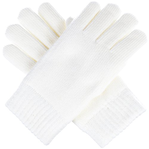 BYOS Winter Womens Toasty Warm Plush Fleece Lined Knit Gloves, 14 Solid Colors (White) by Be Your Own Style