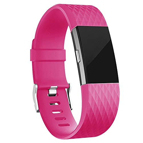 iGK Replacement Bands Compatible for Fitbit Charge 2, Adjustable Replacement Bands with Metal Clasp Special Edition Rose Large