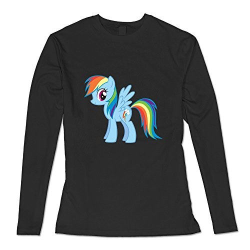Geek Rainbow Dash Pony Women's Long Sleeve T Shirt Black Size M
