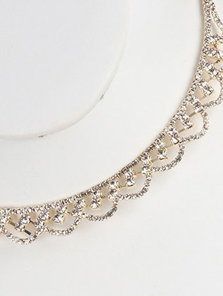 Destinees clear formal RHINESTONE COIL WIRE CHOKER NECKLACE