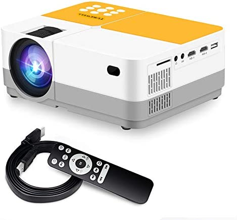 TUREWELL H3 Projector Video Projector 3600 Lumens Native 720P LCD Mini Projector 180″ 55000 Hours Support 2K HD/VGA/AV/USB/SD Card/Headphone Compatible with TV Stick/Home Theater/PS4