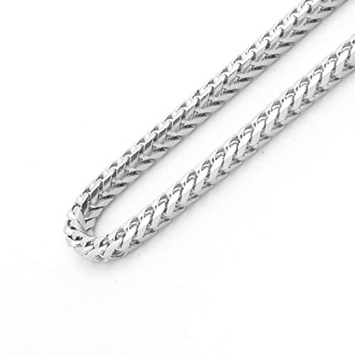 Sterling Silver Italian 2.5mm Solid Franco Square Box Link 925 Sterling Silver -Made in Italy (Silver, 30)