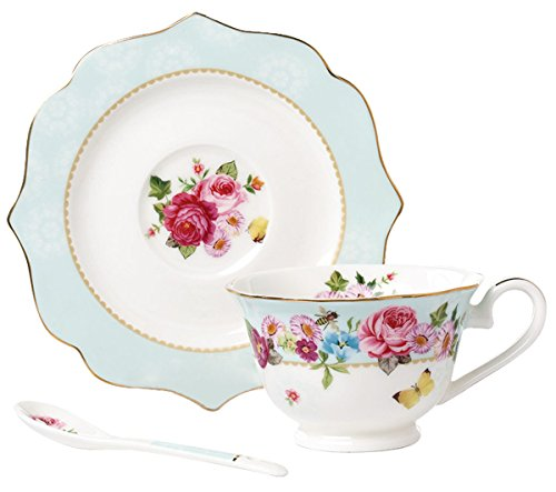 Jusalpha Vintage Rose Bone China Teacup Spoon and Saucer Set/Coffee Cup with Saucer (TCS08 Blue) ()